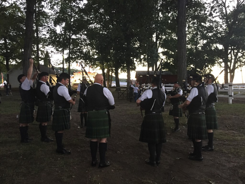 The Pipers tune up before our performance The Altamont Fair. (8/11/15 ©SPB)